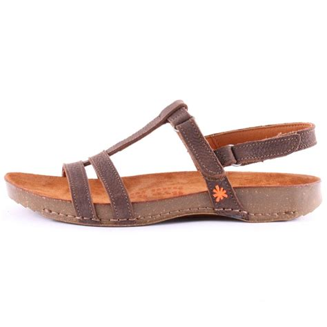 footwear womens sandals breathe 0972 womens flat velcro sandals leather brown