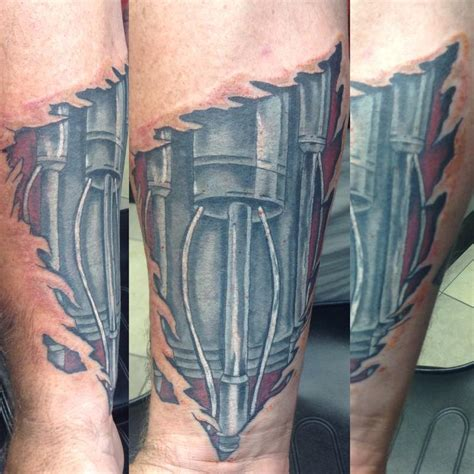 terminator arm tattoo terminator arm by cat johnson tattoonow