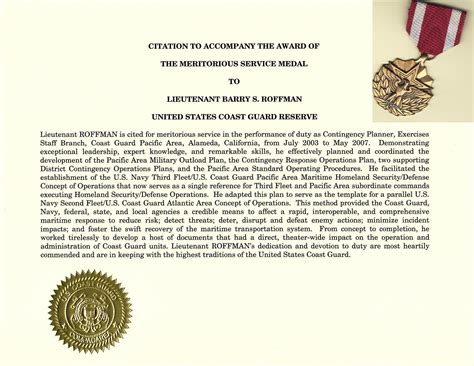 meritorious service medal citation template write a meritorious service medal