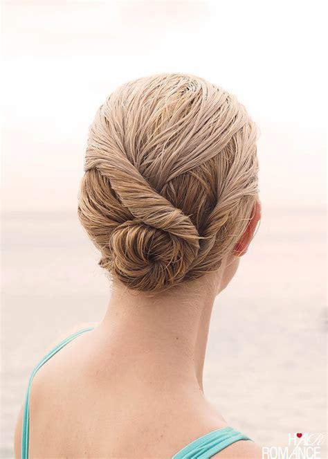 hair into small buns once dry remove buns and finger brush your hair beach bun twist hairstyle tutorial hair romance