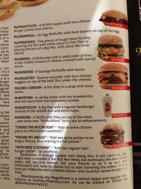 secret menu new sexually mcdonald s secret menu from look what i