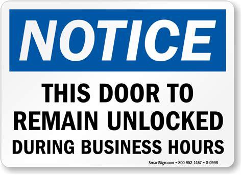 door to remain open during business hours sign approach door slowly signs open door slowly signs