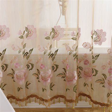 curtains with flowers elegant yarn embroidery pink flower sheer curtains