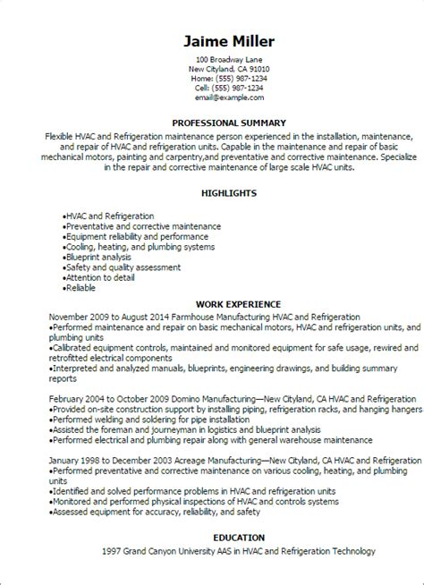 professional hvac and refrigeration resume templates to