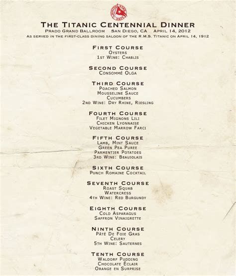 titanic first class menu i will see you in far off places titanic