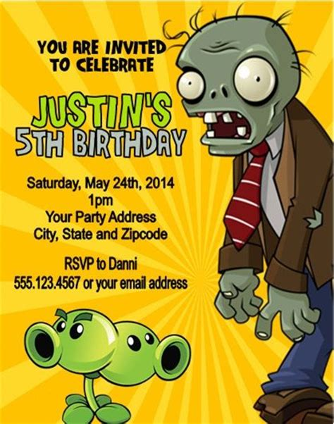 plants vs zombies invitation template plants vs zombies birthday invitations custom