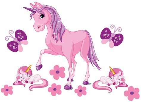 Girls Wall Sticker adorable pink unicorns wall stickers totally movable
