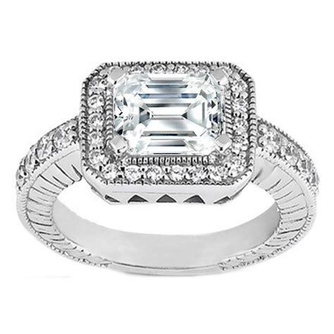 engagement ring emerald cut horizontal engagement