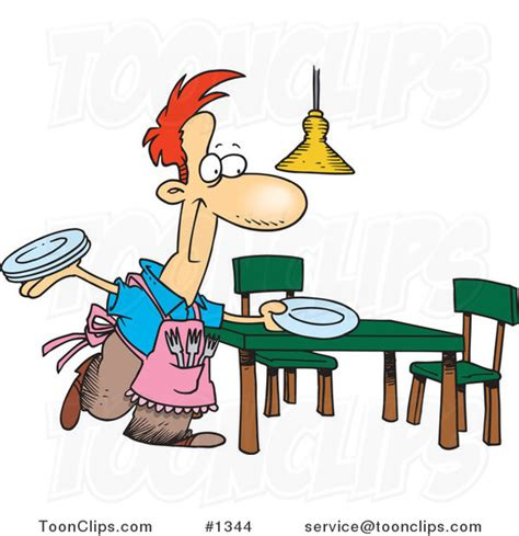 set the table cartoon happy stay at home dad setting the dinner table