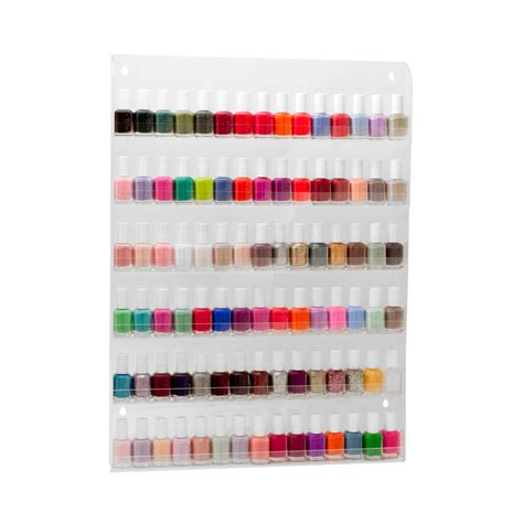 Nail Wall Rack by 90 Bottles Clear Acrylic 6 Tier Nail Salon Wall