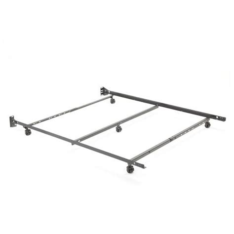 Metal Low Profile Bed Frame With Wheels For Queen Size Lower Bed Frame Height