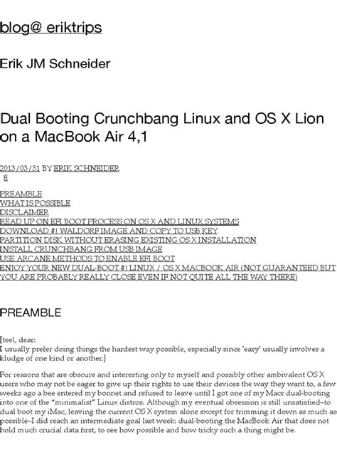 Dual Booting Crunchbang Linux and OS X Lion on a MacBook