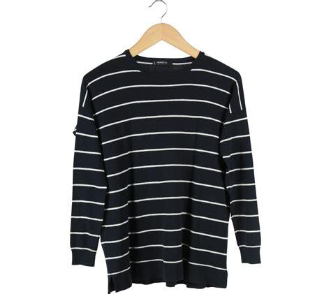 Sweater White Diskon mango black and white striped sweater