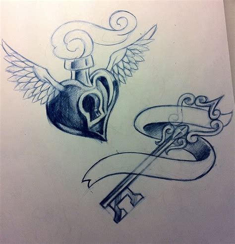 heart key tattoo designs key n locket design tattooshunt