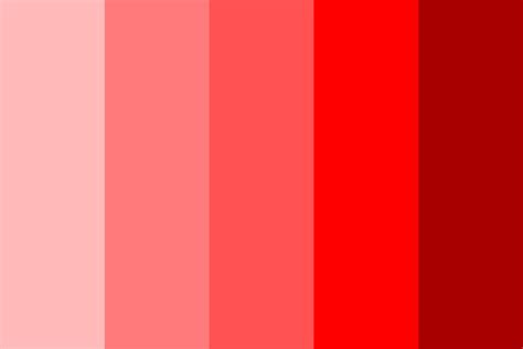 shades of red color palette and chart with color names shades of red color palette