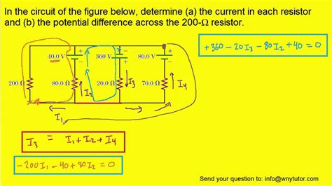 working out current through a resistor in the circuit of the figure below determine the current