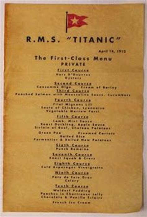 titanic first class menu 1000 images about titanic menu on pinterest first class