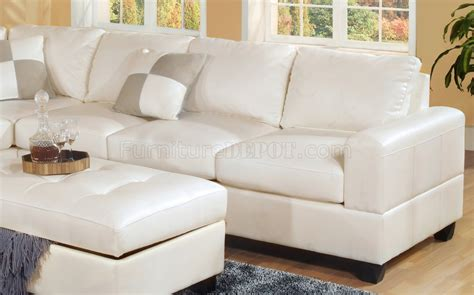 Modern White Bonded Leather Sectional Sofa White Bonded Leather Modern Sectional Sofa W Storage Ottoman
