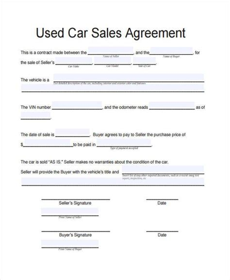 used car purchase agreement template contract forms in pdf