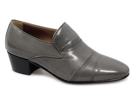 eduardo mens leather cuban heel slip on shoes grey buy