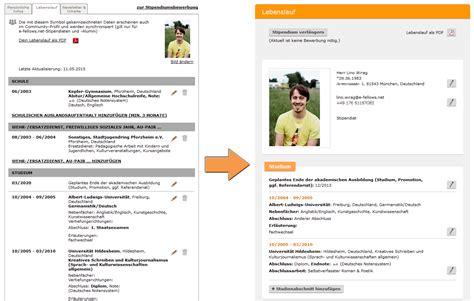 Lebenslauf Daten Bis Heute neues profil und neuer lebenslauf e fellows net
