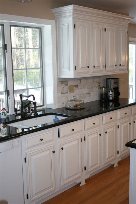 Kitchen With Black Countertops And White Cabinets Design Notes Kitchen Remodel Completed