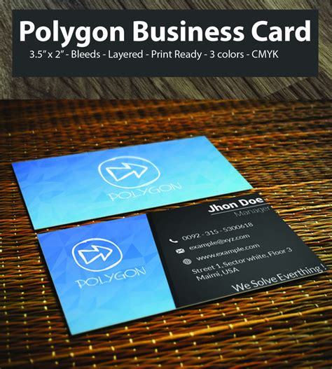 sided business card template psd best free polygon business card psd 3 color 2 sided