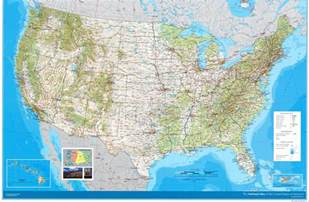 large detailed road and topographical map of the usa the
