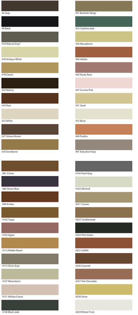 Grout Colors Merola Tile by C Cure Brochures Charts