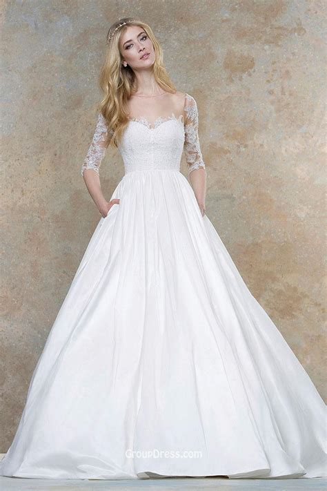 Embroidered Illusion Applique Romantic Ball Gown Fall Wedding Dress Half Sleeves   GroupDress.com