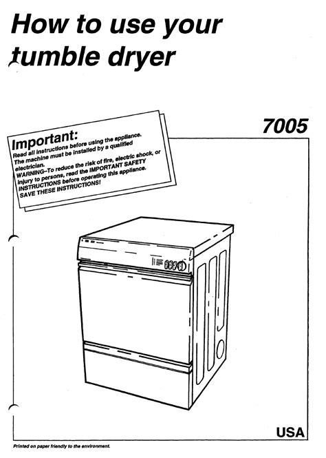 Asko Clothes Dryer 7005 User Guide Manualsonline Com