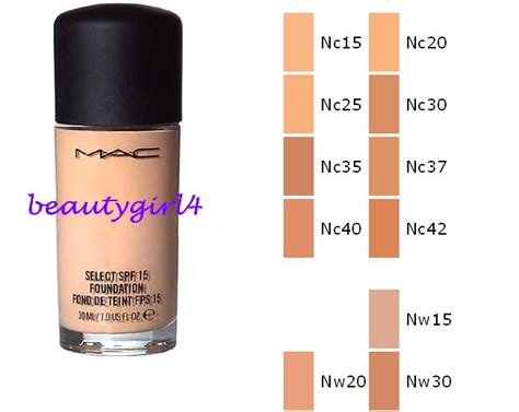 mac foundation colors mac cosmetics select spf 15 liquid foundation any color