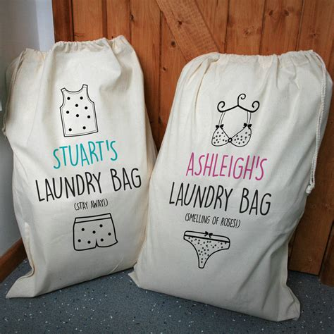 laundry hers personalised his and hers laundry bag set by a type of