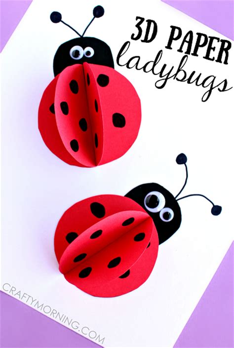 Paper Ladybug Craft - 3d paper ladybug craft for crafty morning