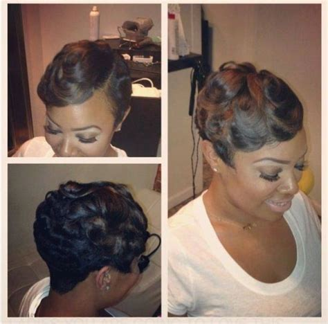 black hairstyles with finger wave sides and curls on top dry finger wave i love it short hair don t care