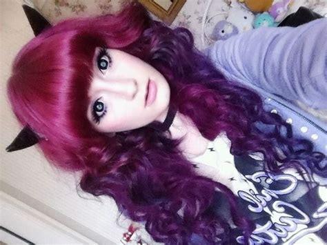 burgandypurple 2015 hair burgundy purple ombre curls bangs hair medium hair