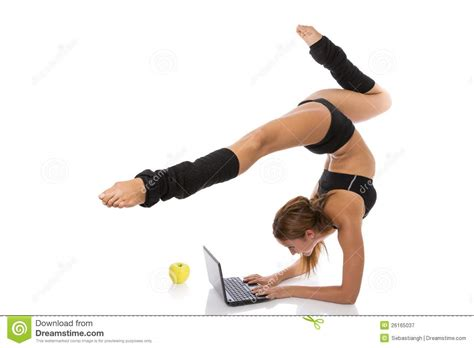 Design Floor Plans For Free by Flexible Gymnast With Laptop And Apple Royalty Free Stock