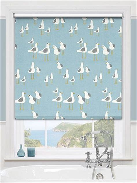 colourful roller blind bathroom splash gulls seaside blue roller blind blue roller