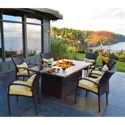 outdoor dining table  fire pit   middle fancy
