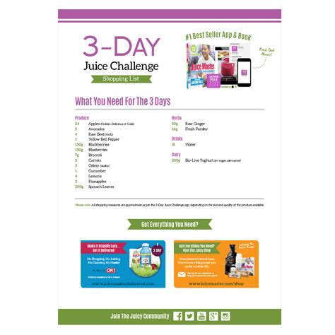 3 Day Detox Plan South Africa by 3 Day Juice Challenge Shopping List Juice Master