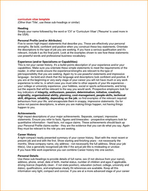 personal profile exles for resumes 7 resume profile statement authorization letter