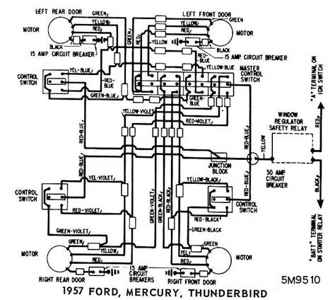 ford mercury  thunderbird  windows wiring diagram