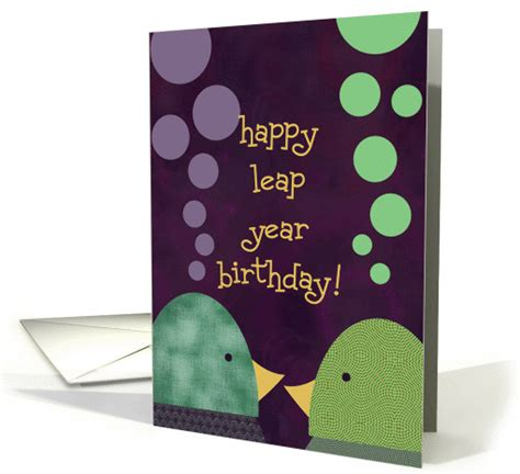 leap year birthday card template happy leap year birthday chatter birds card 903019