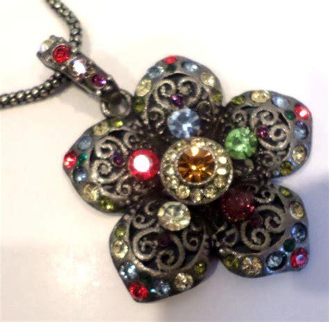 Rhinestone Multi Chain Necklace rhinestone bling flower pendant and chain necklace multi
