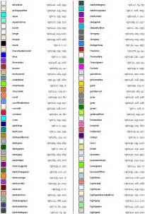 list of colors command appendix a table of colors