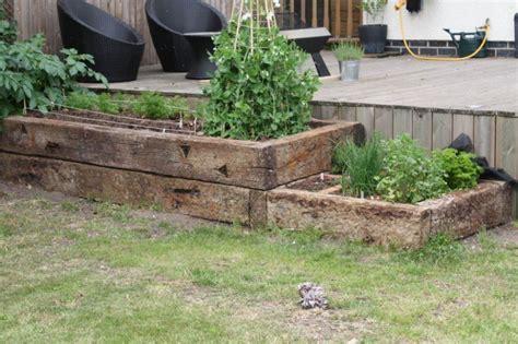 raised beds from used oak railway sleepers