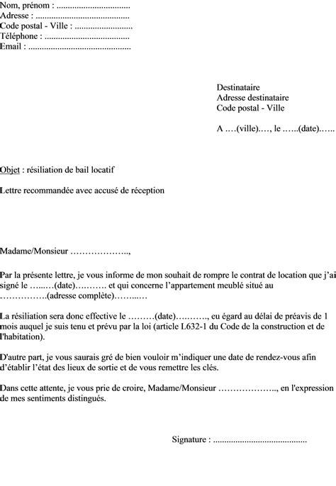 Résiliation De Bail Par Propriétaire Lettre Type Lettre Resiliation Bail Etat Des Lieux Document
