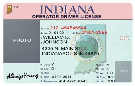 indiana id card template california id template image collections template design
