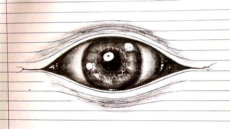 How To Make Optical Illusions On Paper - how to draw an eye optical illusion drawing on lined paper