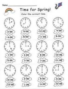 kindergarten spring telling time set classroom math and